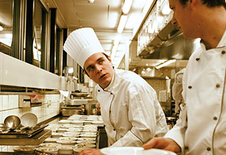 Photograph of chefs training in kitchen for City & Guillds accredited Qualification